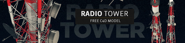 Free C4D Moder Radio Tower Antenna