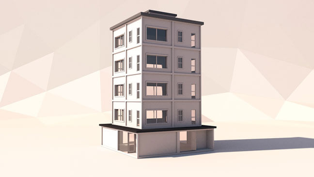 maxon-cinema4d-c4d-3d-model-low-poly-highrise
