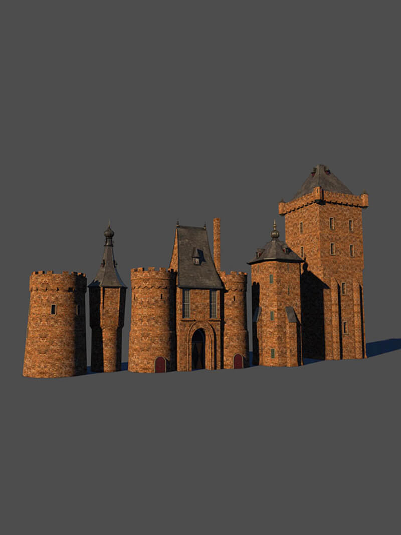 Free Cinema 4D 3D Model Castle Brick Medieval