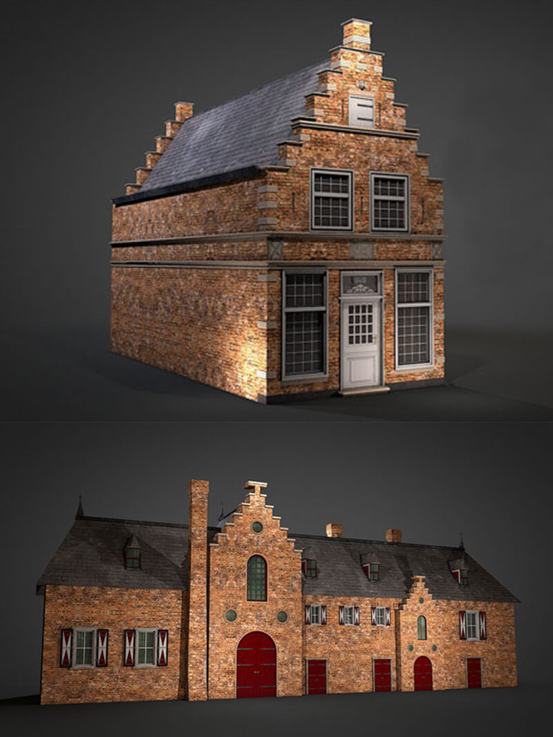 Free Cinema 4D 3D Model House Brick Cottage
