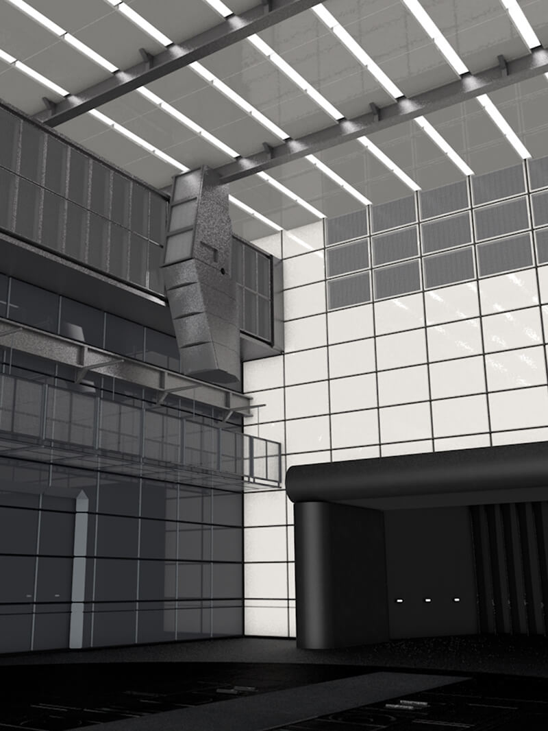 Free Cinema 4D 3D Model Interior Wind Tunnel Architecture
