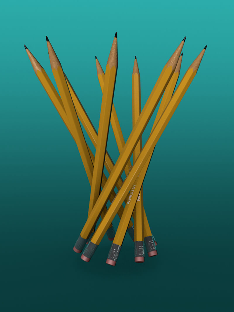 Free Cinema 4D 3D Model Pencils