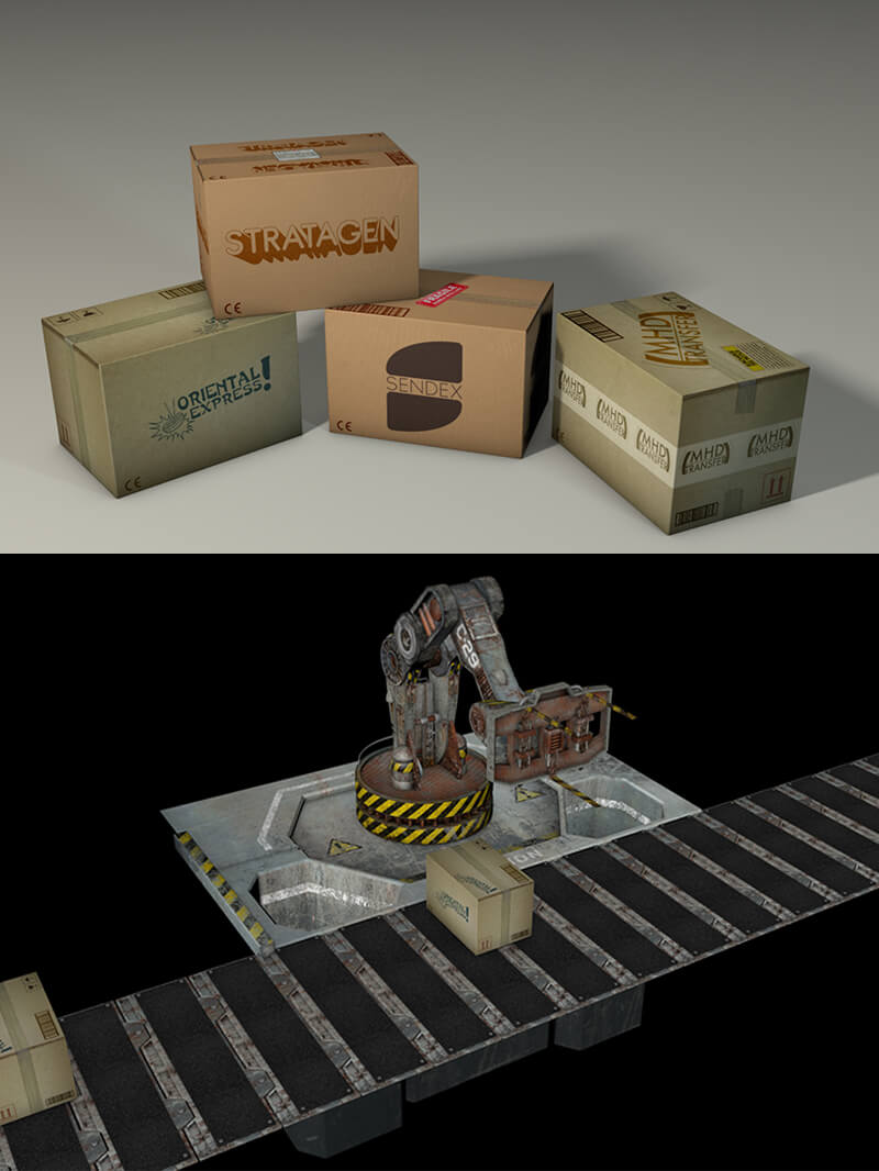 Free Cinema 4D 3D Boxes Model