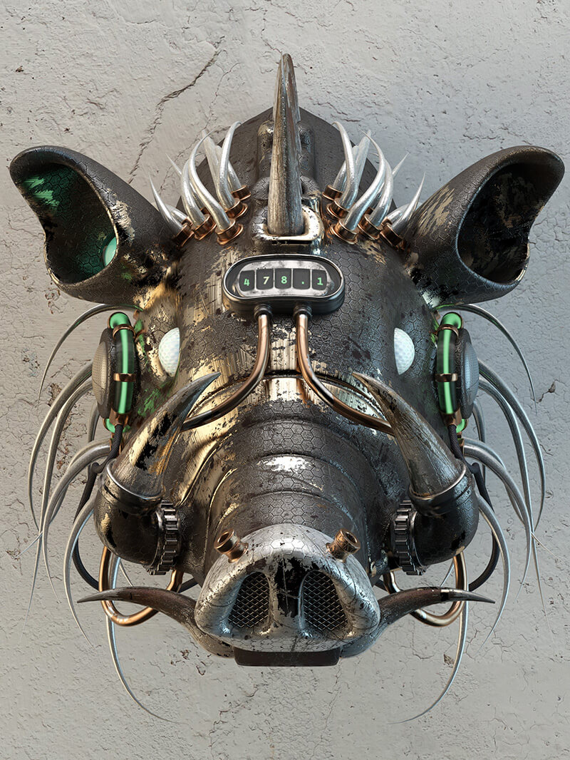 Free Cinema 4D 3D Model Boar head