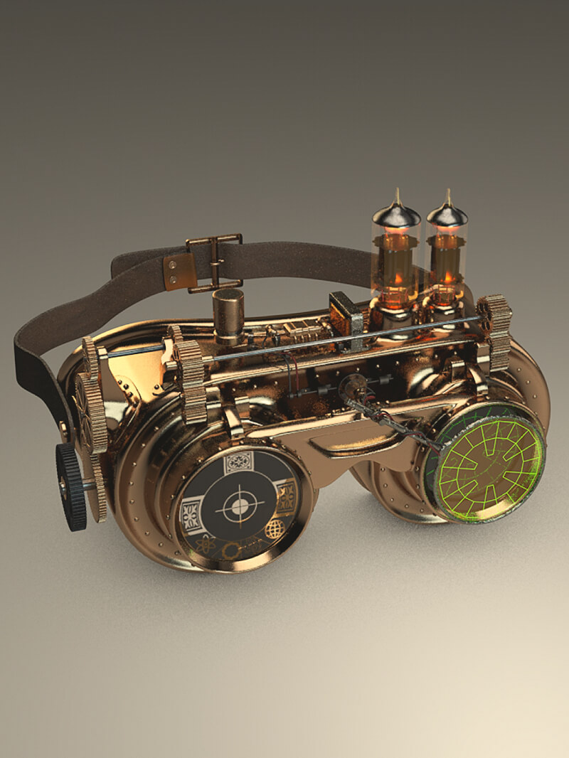 Free Cinema 4D 3D Model Steampunk Goggles