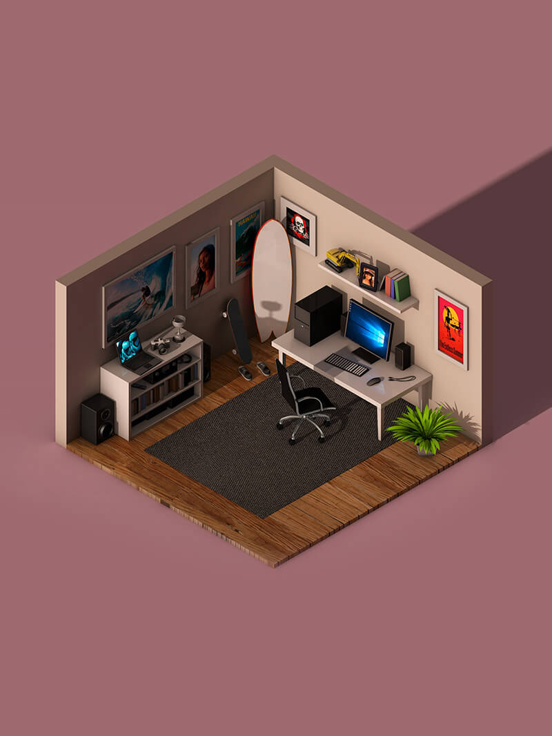 Free Cinema 4D 3D Model: Isometric Office Room Scene