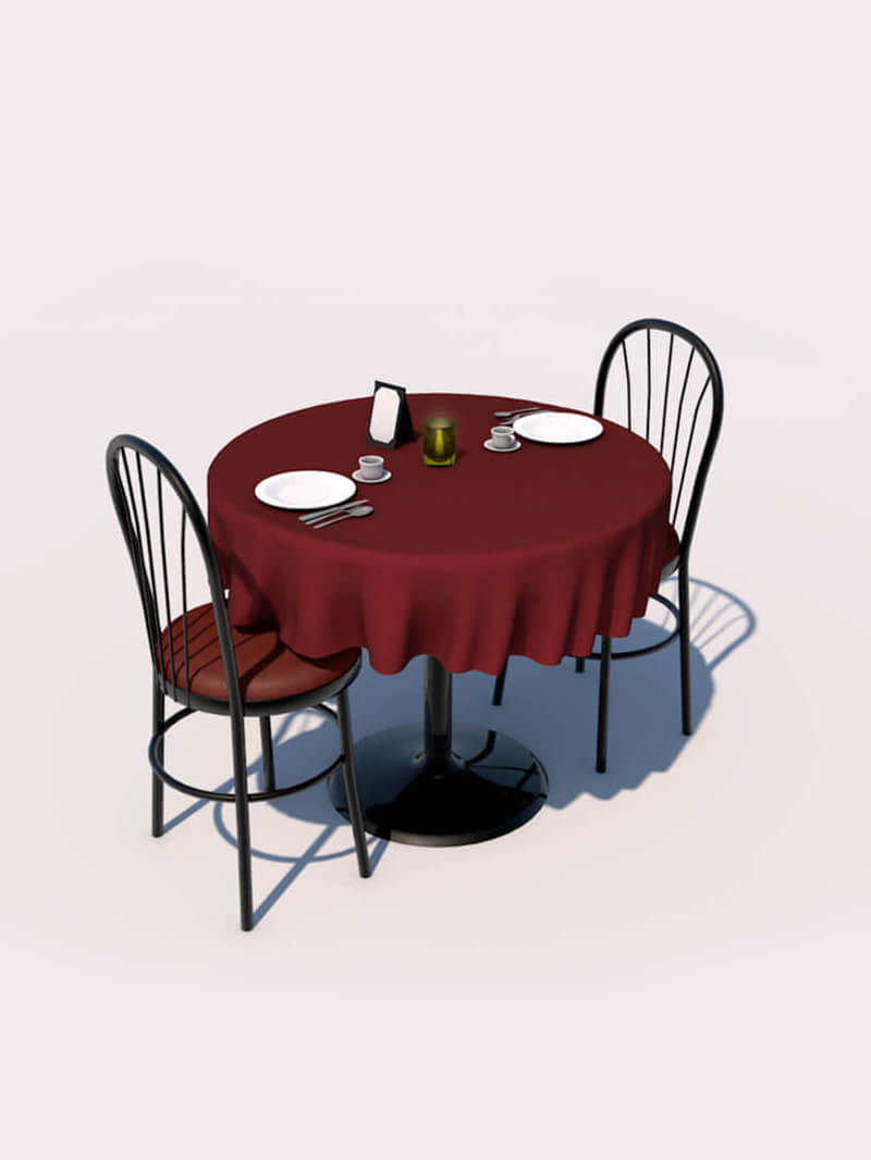 Free Cinema 4D 3D Model Table Restaurant