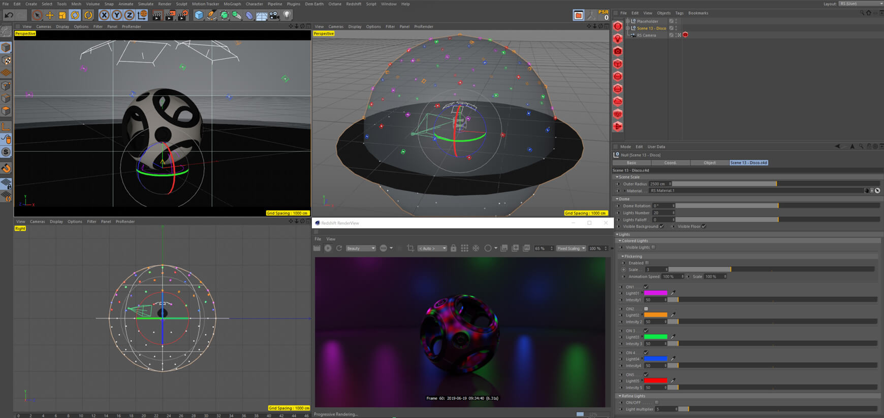Redshift Cinema 4D Lighting Essentials Disco Studio Scene