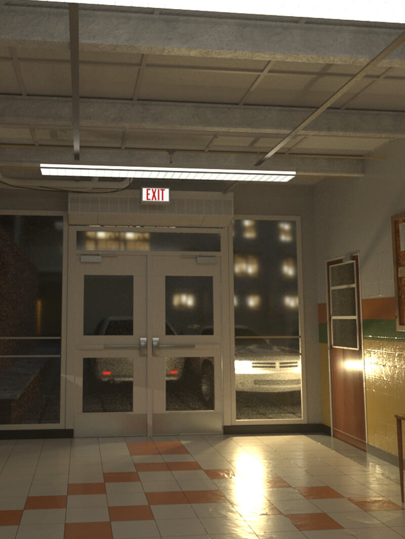 Free Cinema 4D 3D Model: Arnold Old School Hallway Scene
