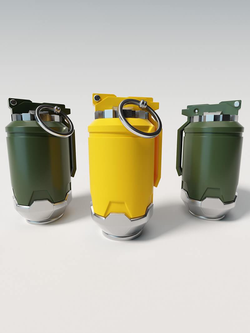 Free Cinema 4D 3D Model Sci Fi Hand Grenade