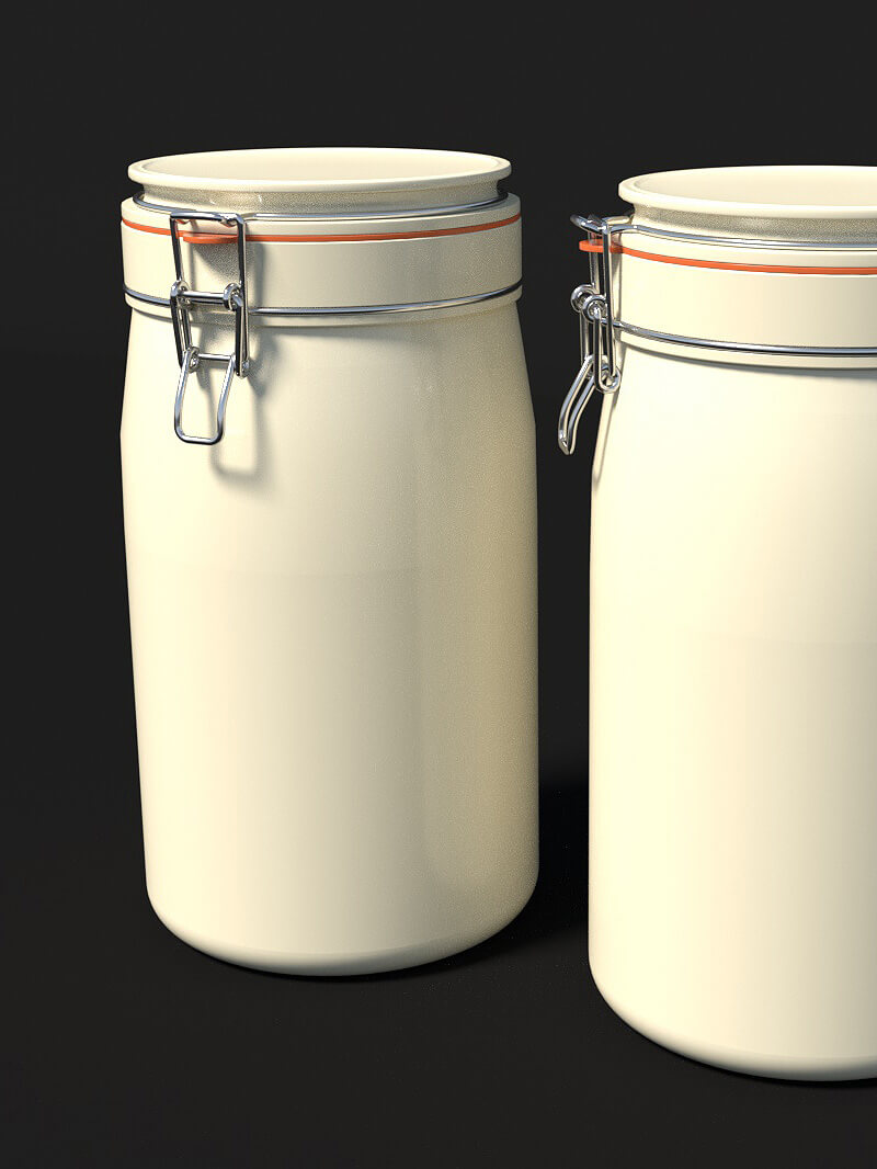 Free Cinema 4D 3D Model Ceramic Kitchen Jar