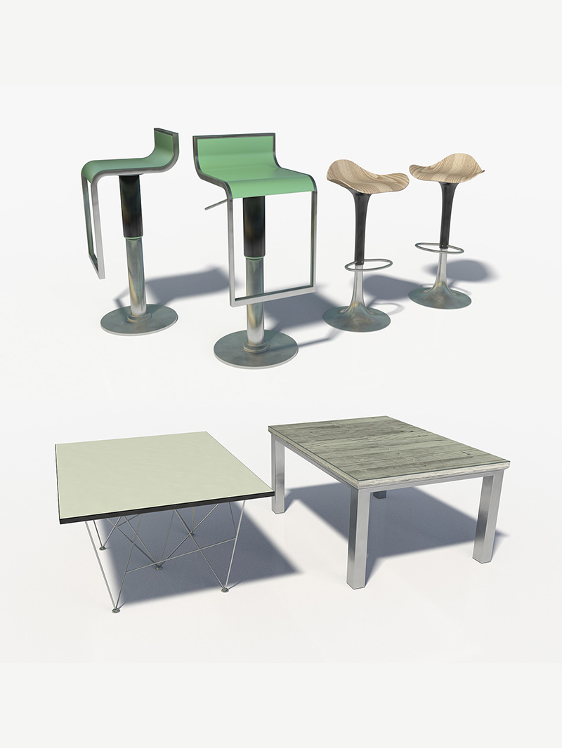 Free Cinema 4D 3D Model Furniture Pack Chairs and Tables