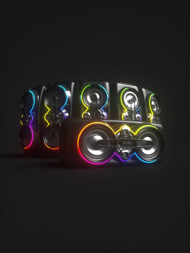 Free Cinema 4D 3D C4D Model Party Speakers