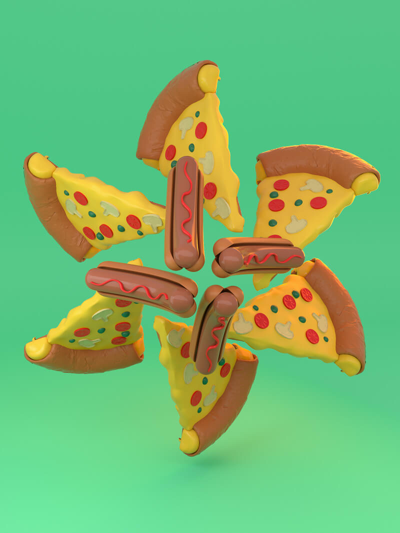 Free Cinema 4D 3D Model Cartoon Food Hot Dog and Pizza