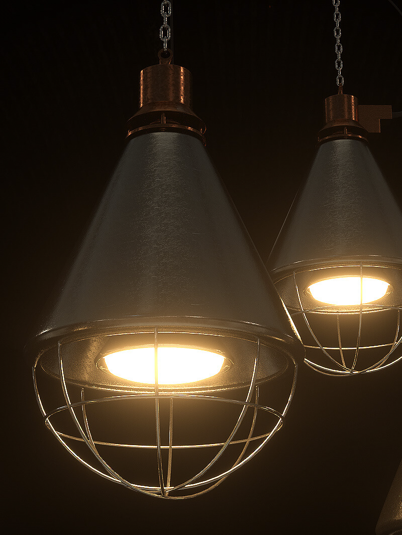 Free Cinema 4D 3D Industrial Light Lamp Model