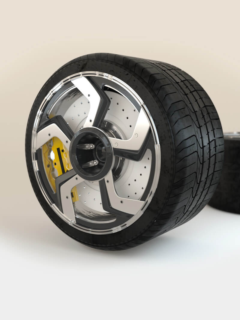 Free Cinema 4D 3D Model Lambo Car Wheel