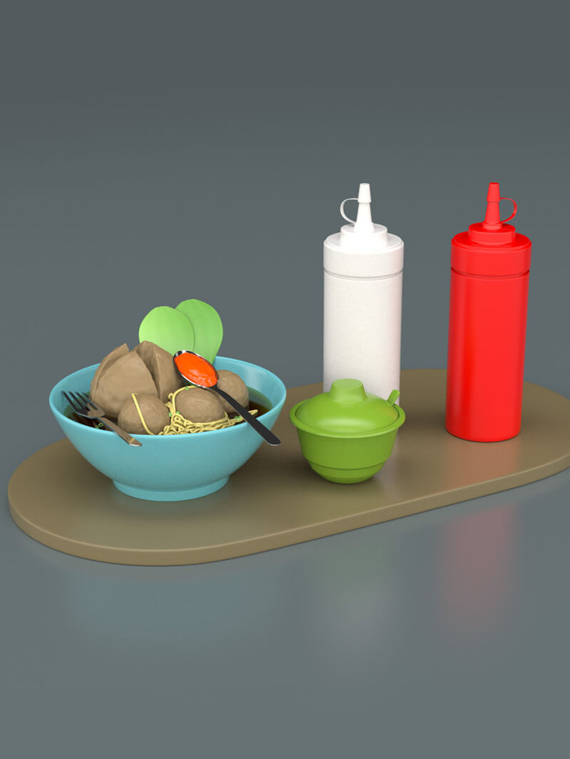 Cinema 4D Indonesian Meatball Model Food