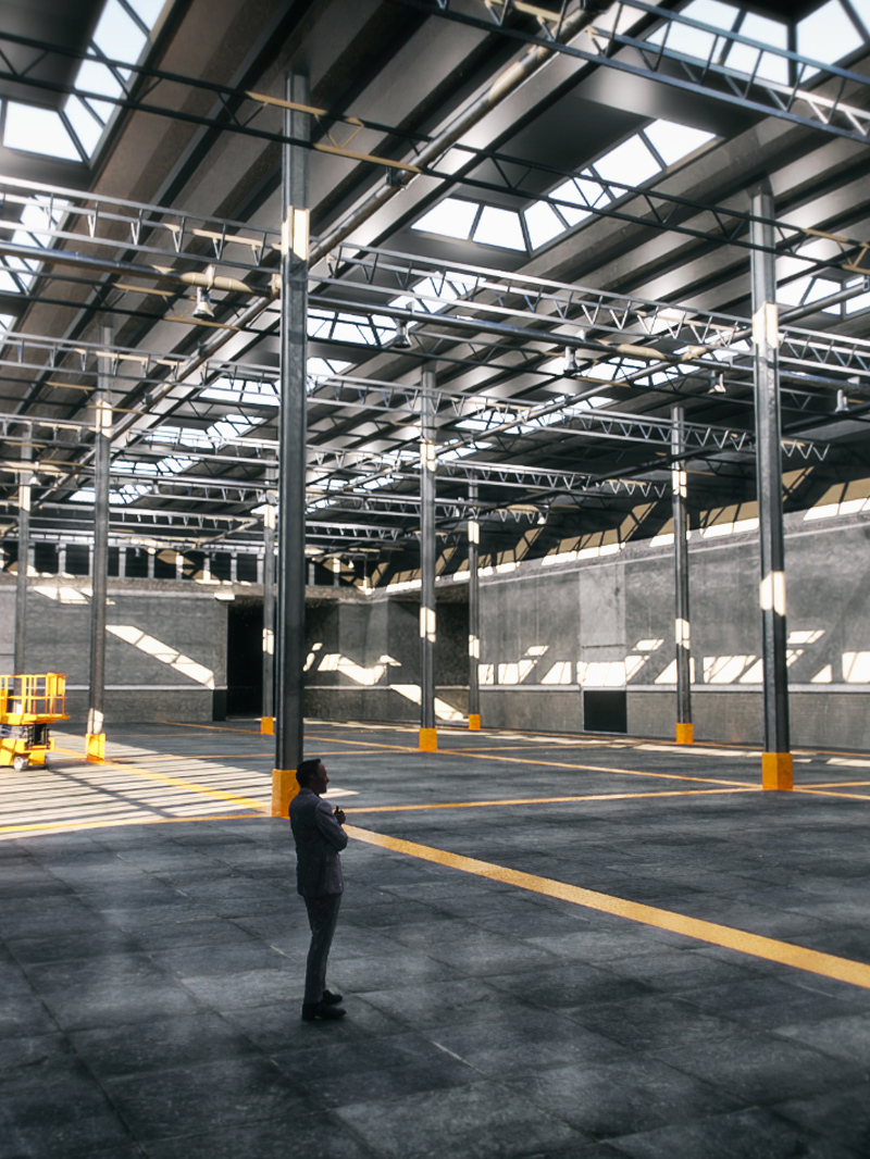 Free Cinema 4D 3D Model Empty Interior Expo Warehouse