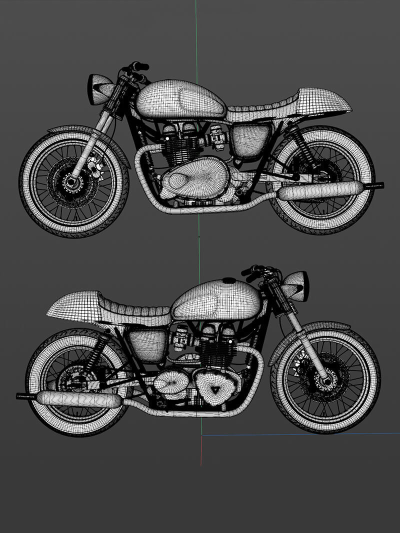 Free Cinema 4D 3D Model Triumph Bonneville Cafe Racer Motorcycle Bike