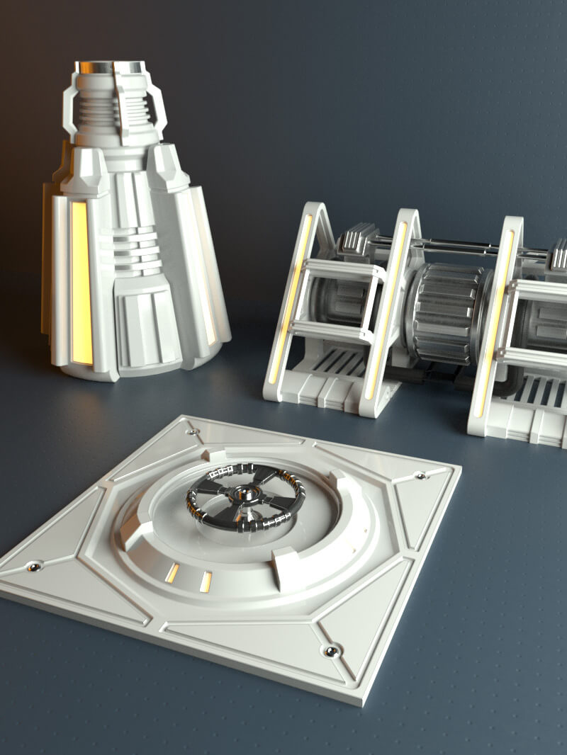 Free Cinema 4D 3D Model Hard Surface Kit Sampler