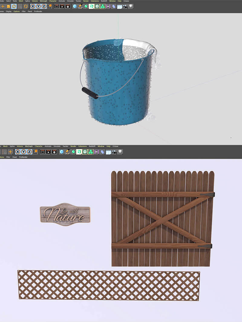 Free Cinema 4D 3D Model Backyard Fence Bucket Elements