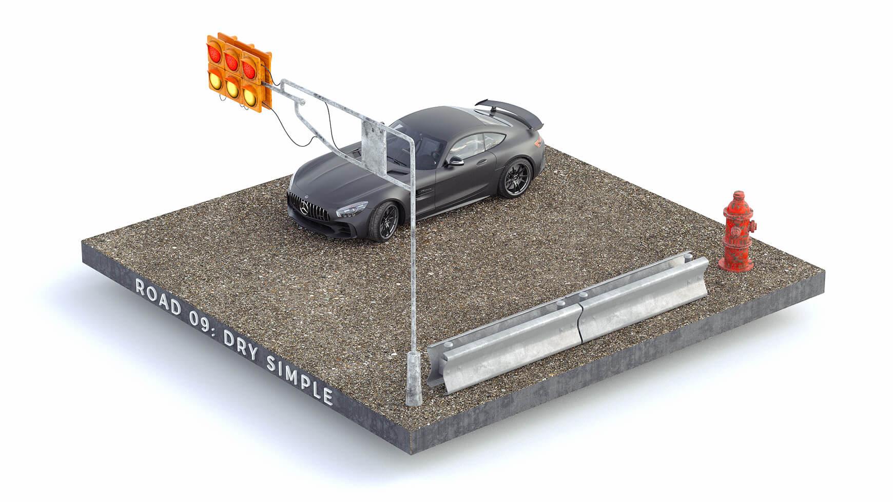 Cinema 4D 3D Streets Roads Textures Materials Dry Simple