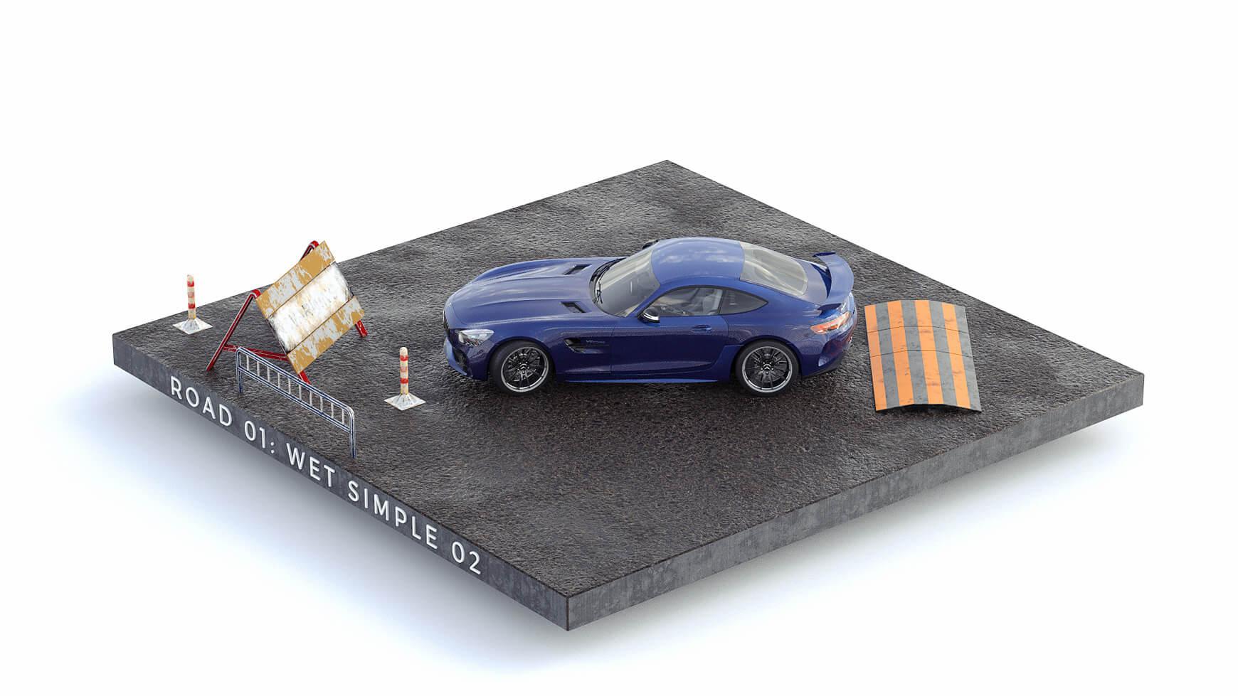 Cinema 4D 3D Streets Roads Textures Materials Wet Simple