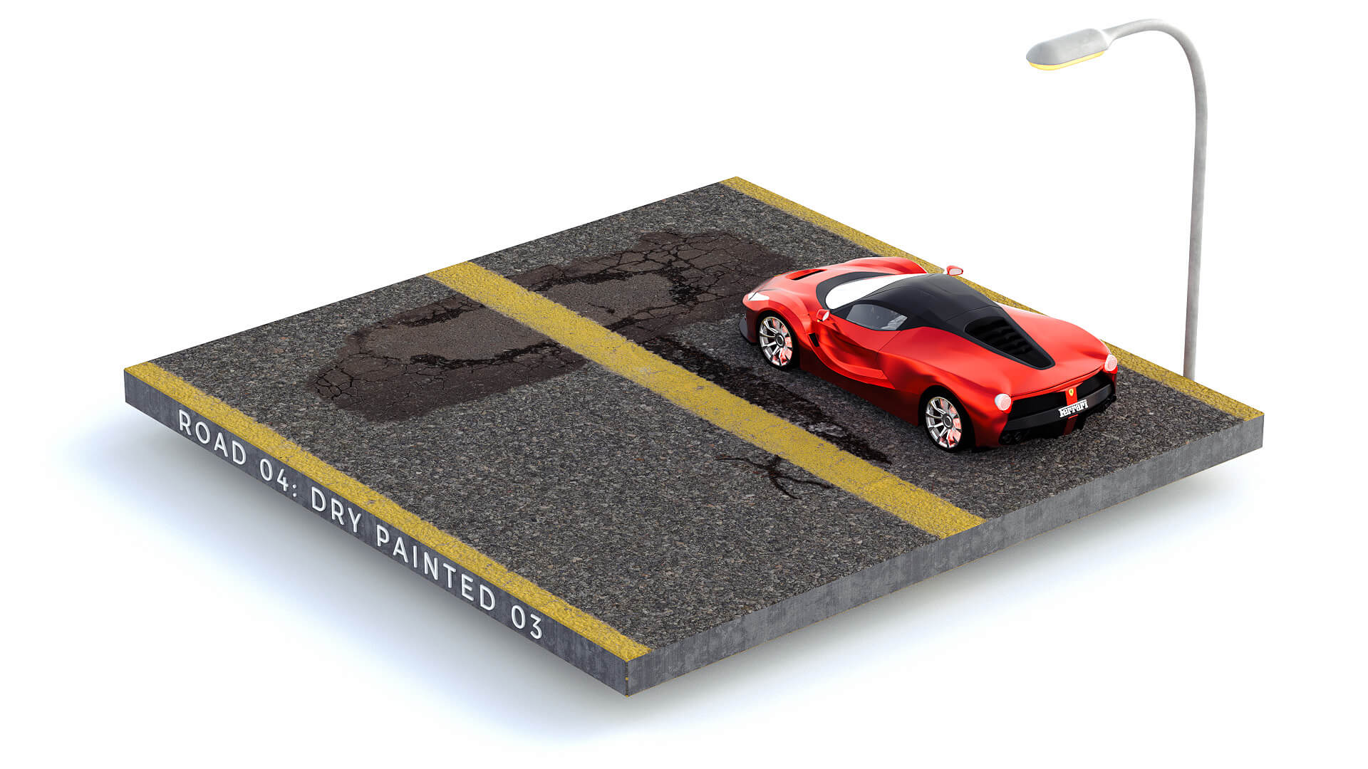 Cinema 4D 3D Streets Roads Textures Materials Dry Painted