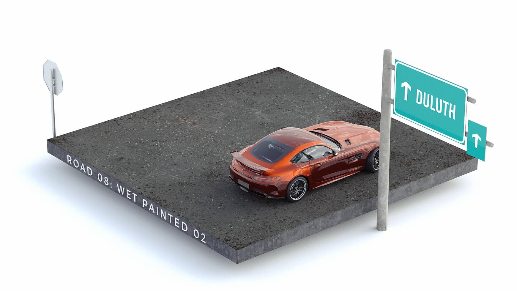 Cinema 4D 3D Streets Roads Textures Materials Wet Painted