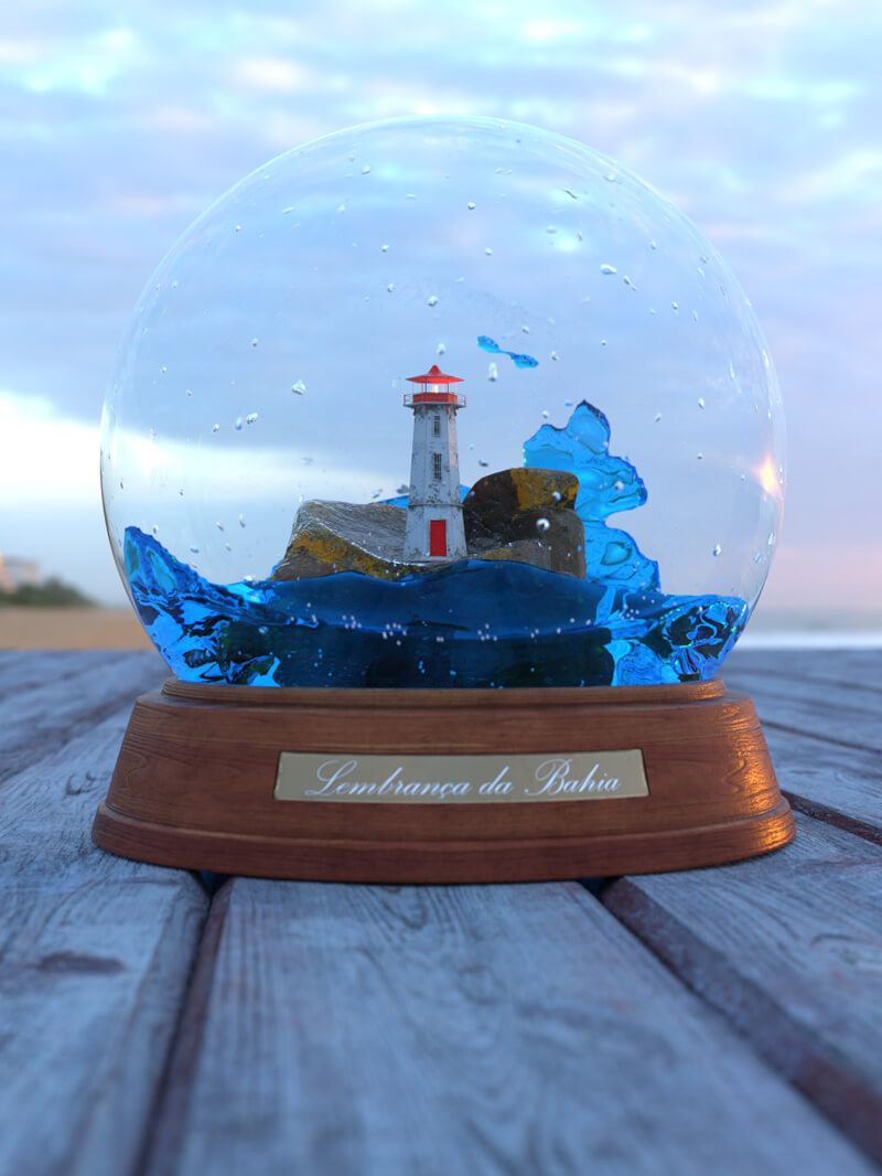 Free Redshift Cinema 4D 3D Model Redshift Lighthouse Snowglobe