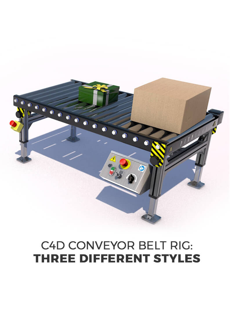 Free Cinema 4D 3D Xpresso Rig Conveyor Belt System