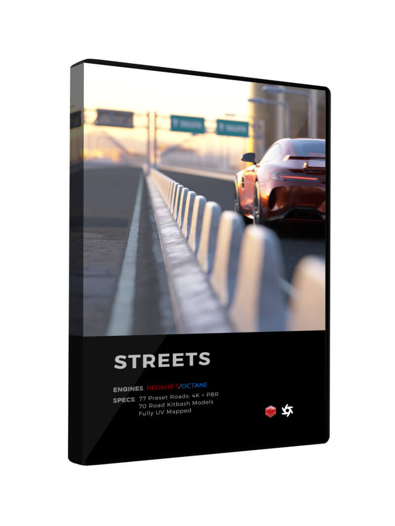 Cinema 4D 3D Streets Roads Textures Materials Models