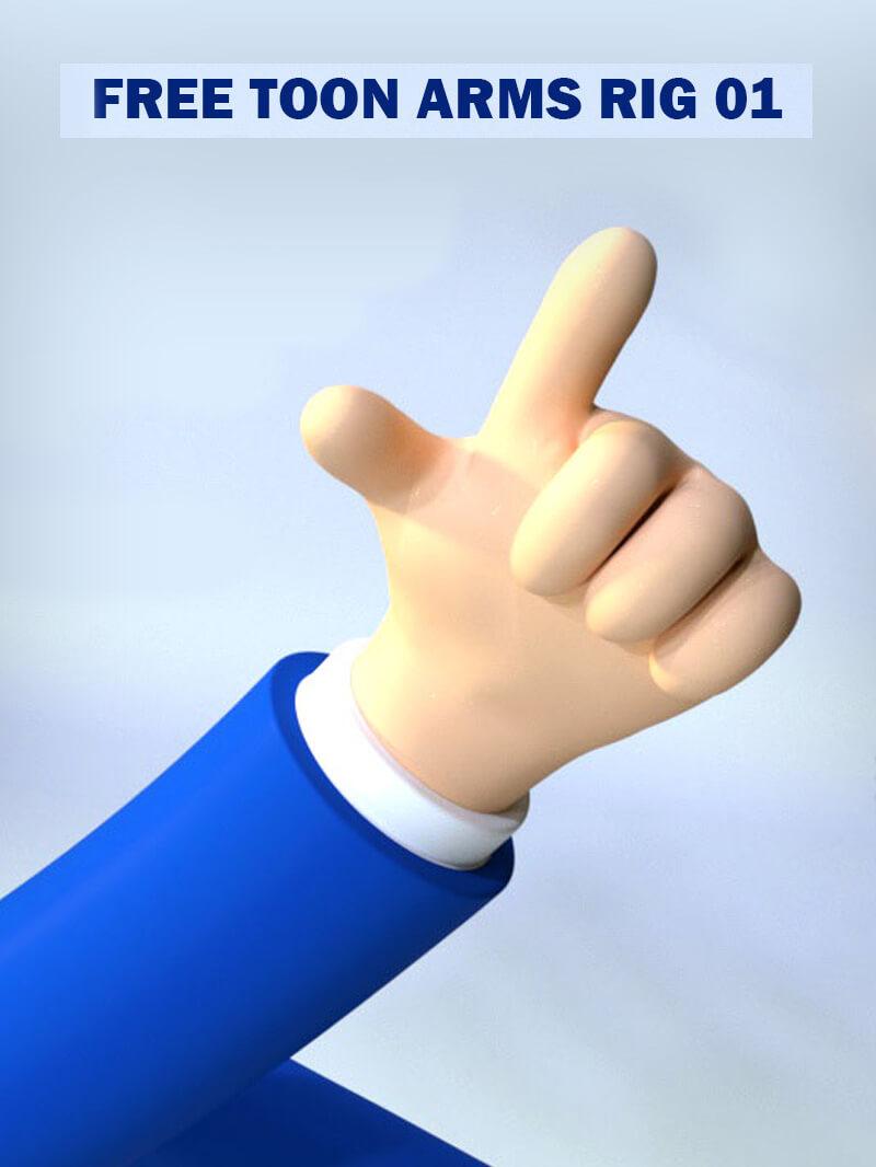Free Cinema 4D 3D Model Hand Rig Toon Xpresso