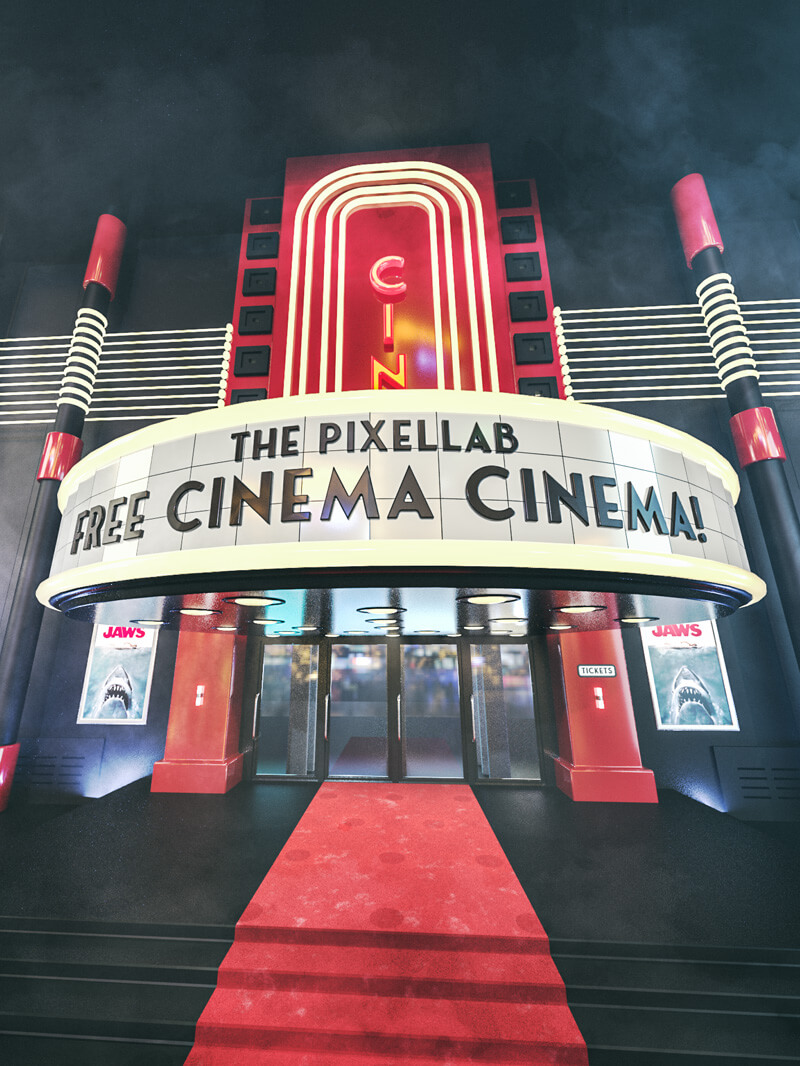 Free Cinema 4D 3D Model Movie Theater