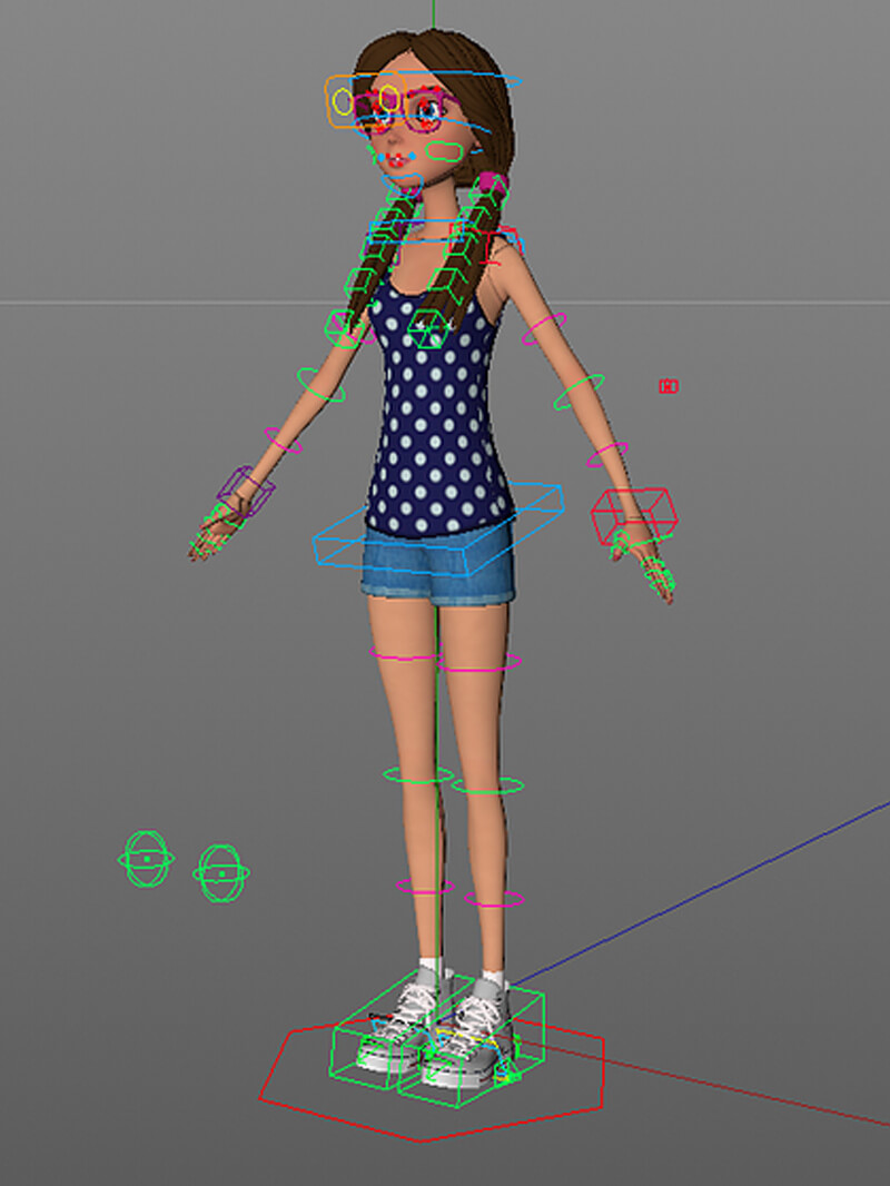 Free Cinema 4D 3D Model Girl Rigged Character Animation
